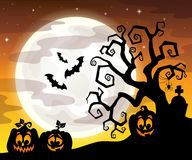 Halloween tree silhouette theme 3 Royalty Free Stock Image