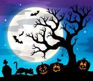 Halloween tree silhouette theme 4 Royalty Free Stock Photo