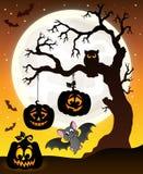 Halloween tree silhouette theme 6 Royalty Free Stock Photos
