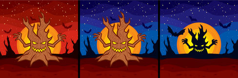 Halloween tree. Vector illustrations of a halloween tree with a big moon Royalty Free Stock Photo