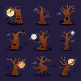 Halloween tree vector scary character treetops of horror in spooky forest illustration set of forestry wood or evil oak. Halloween tree vector scary character Royalty Free Stock Images