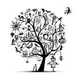 Halloween tree for your design Stock Photo