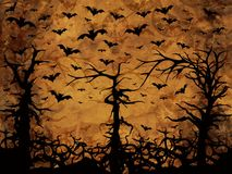 Halloween trees - bats and clocks, sepia background Stock Photos
