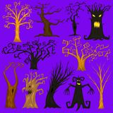 Halloween trees, creepy or scary and frightening branches. fabulous mythical or fantastic monsters. wooden creatures in. The forest Royalty Free Stock Image