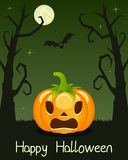 Halloween Trees with Pumpkin on Green Royalty Free Stock Photos