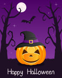 Halloween Trees with Pumpkin on Violet Royalty Free Stock Images