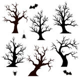 Halloween trees, spiders and bats Royalty Free Stock Image
