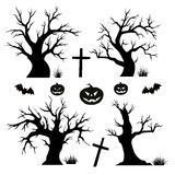 Halloween trees, spiders and bats Royalty Free Stock Photography