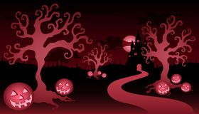 Halloween tress and castle Royalty Free Stock Image