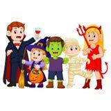 Halloween-Trick oder Behandlung in Halloween-Kostüm vektor abbildung