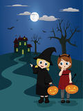 Halloween trick or treat. Vector illustration of two little girls dressed in witch and devil costumes on their way to visit a house for trick or treat Royalty Free Stock Image