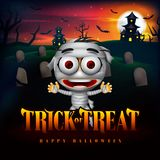 Halloween Trick or Treat Background and Funny Mummy Character in the Cemetery with Haunted House Illustration. Vector royalty free illustration
