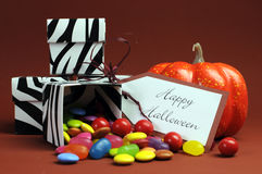 Halloween trick or treat black and white zebra candy boxes Royalty Free Stock Images