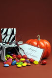 Halloween trick or treat black and white zebra candy boxes - vertical. Royalty Free Stock Photography