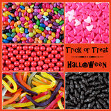 Halloween trick or treat candy backgrounds collage Royalty Free Stock Image