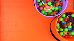 Halloween Trick or Treat candy overhead jack-o-lantern buckets Royalty Free Stock Images