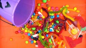 Halloween Trick or Treat candy overhead jack-o-lantern buckets Royalty Free Stock Photos
