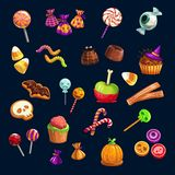 Halloween Trick or Treat candy sweets. Halloween Trick or Treat party scary candy sweets and lollipops. Vector eye, gingerbread skull or monster and witch hat vector illustration