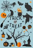 Halloween trick or treat card design. Vector illustration. Typography inscription Trick or treat and Illustrations.   Blue background Stock Image