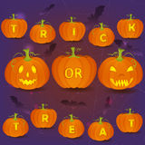 Halloween Trick or Treat card template. Halloween vector poster with Jack O'Lanterns, bats and carved pumpkins forming Trick or Treat words Stock Image