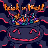 Halloween trick or treat concept background, hand drawn style vector illustration