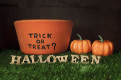 Halloween and Trick or Treat on grass background, nature concept Stock Images