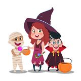 Halloween trick or treat kids in festive costumes with candies isolated on white background. Halloween happy boy and girl, vector illustration royalty free illustration