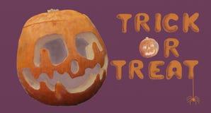 Halloween Trick or Treat Orange Pumpkin and Spider. Halloween illustration with a carved orange pumpkin and spider on purple background stock illustration