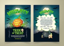 Halloween party vector cartoon trick or treat invitation posters of scary pumpkin and witch cauldron Stock Image