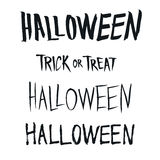 Halloween and Trick or Treat phrase, hand drawn type Stock Image