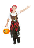 Halloween: Trick or Treat Pirate Gestures to Side. Halloween series with cute children dressed as Dracula, a pirate, and Little Red Riding Hood.  Isolated on Royalty Free Stock Photos