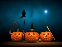 Halloween 2017. Trick or Treat, Halloween Pumpkin in Dark Night Stock Photo