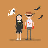 Halloween trick or treat set: characters are wearing festive costumes Stock Photography