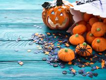 Halloween trick or treat still life Royalty Free Stock Photo