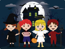 Halloween trick or treat. Vector illustration of four little children dressed in Halloween costume Stock Photos