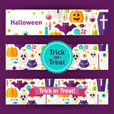Halloween Trick or Treat Vector Template Banners Set in Modern F Royalty Free Stock Photos