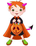 Halloween trick or treating boy. Halloween costumed boy trick or treating Royalty Free Stock Photos
