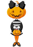 Halloween trick or treating girl. In Halloween pumpkin costume Stock Images