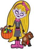 Halloween trick or treating little girl Stock Photos