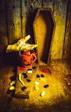Halloween trick of treats background Stock Images