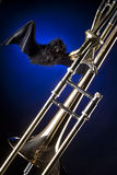 Halloween Trombone and Bat Stock Image