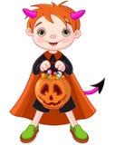 Halloween-truc of het behandelen van jongen royalty-vrije illustratie