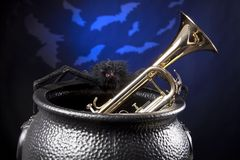 Halloween Trumpet Bats Spider Royalty Free Stock Photography