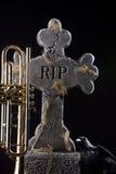 Halloween Trumpet Grave Crow Stock Image