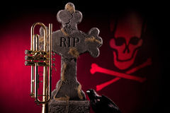Halloween Trumpet Gravestone Red Stock Images