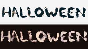 Halloween, twee kaarten met de waterverfwoorden van de inkttekening voor uw ontwerp royalty-vrije illustratie