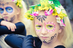 Halloween twin sister looking at camera Royalty Free Stock Images