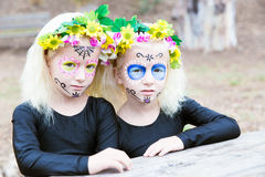 Halloween twin sisters Stock Image