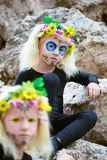Halloween twin sisters outdoors Stock Photos