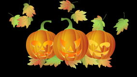 Halloween Twinkling Tealight Candle Lit Carved Pumpkins with Falling Autumn Leaves stock footage